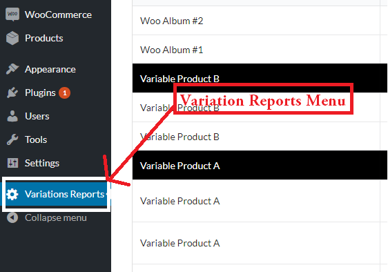 Variation Reports Menu