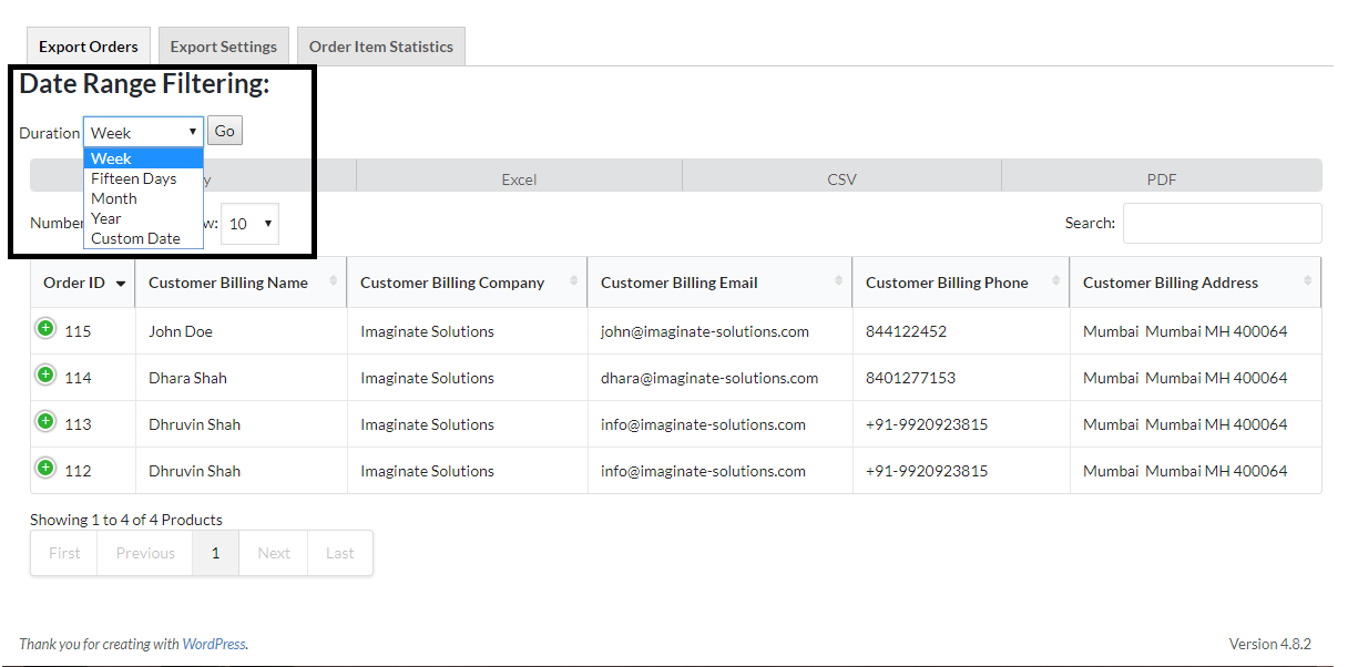 Date Range Filtering Option